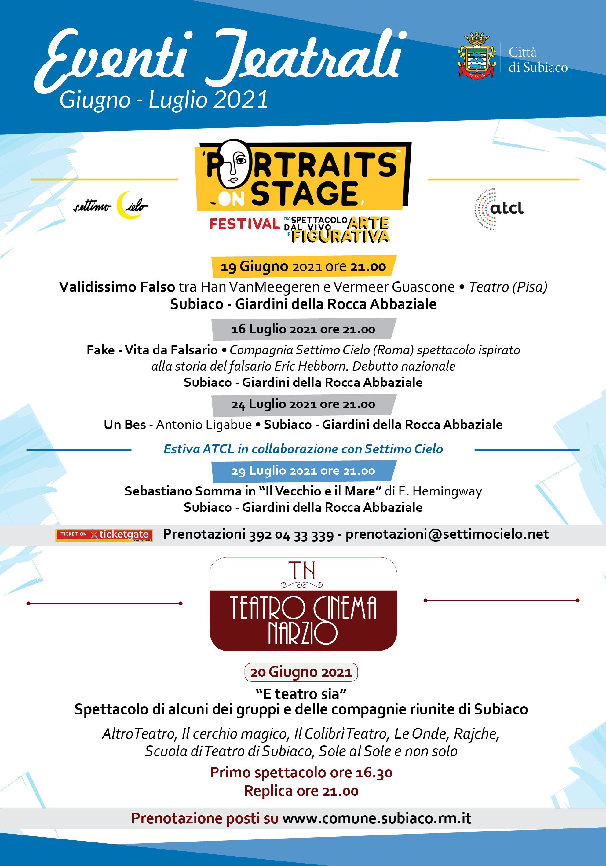 Eventi Teatrali a Subiaco: giugno e luglio 2021. Al via le ...
