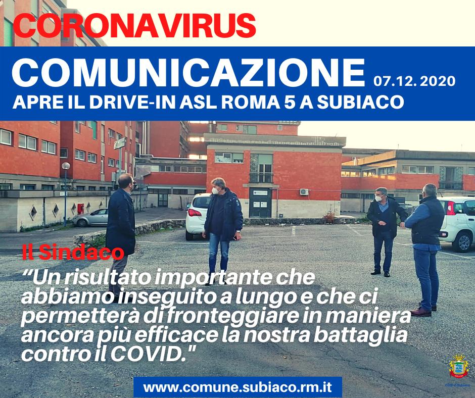 Covid 19 Apre Il Drive In Asl Roma 5 A Subiaco Presso L Ospedale Angelucci Aggiornamento 07 12 2020 Citta Di Subiaco Citta Di Subiaco